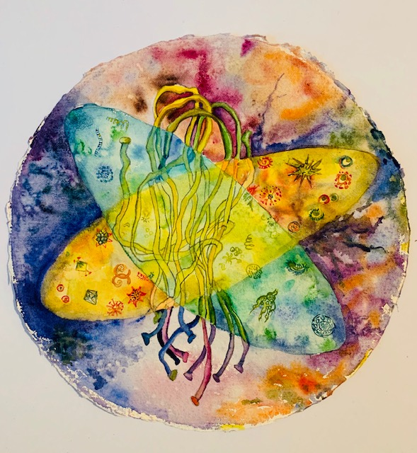 """Cellular Material, Watercolor and Acrylic on paper, 10"""" diameter"""